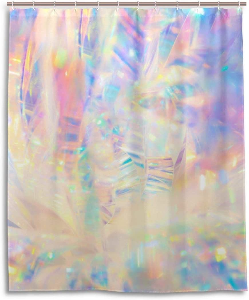 SPXUBZ Watercolor Pink Gradient Pastel Rainbow Shower Curtain Waterproof Bathroom Decor Polyester Fabric Curtain Sets with Hooks