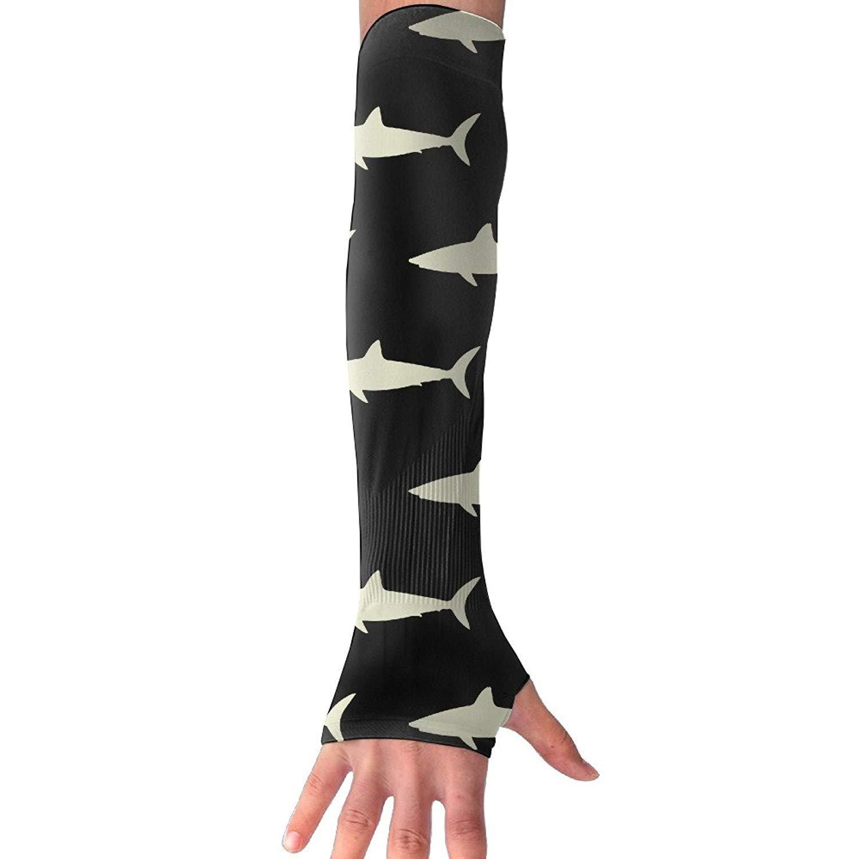 Unisex Sharks in Black Sunscreen Outdoor Travel Arm Warmer Long Sleeves Glove