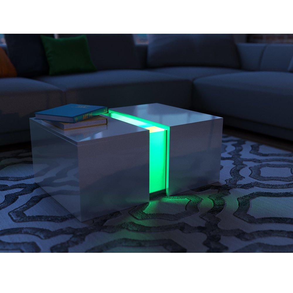 Couchtisch led weiß hochglanz loungetisch wohnzimmer tisch sofa couch modern edles acryl dekor