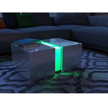 Couchtisch LED Weiss Hochglanz