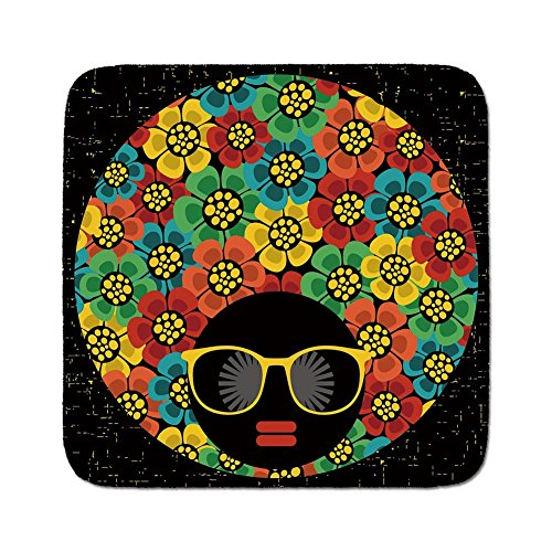 Cozy Seat Protector Pads Cushion Area Rug,70s Party Decorations,Abstract Woman Portrait Hair Style with Flowers Sunglasses Lips Graphic Decorative,Multicolor,Easy to Use on Any -