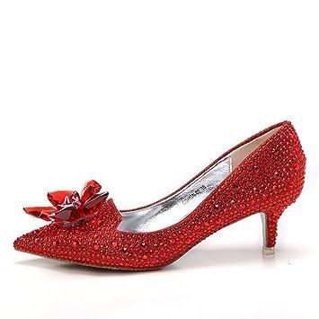 MUYII Damen Cinderella Crystal High Heels Braut Strass Hochzeit SchuheRed-5.5CM-33