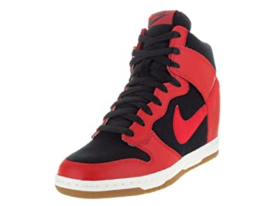 Nike Womens Dunk Sky Hi Essential BlackUniversity RedSailBlack Casual  Shoe
