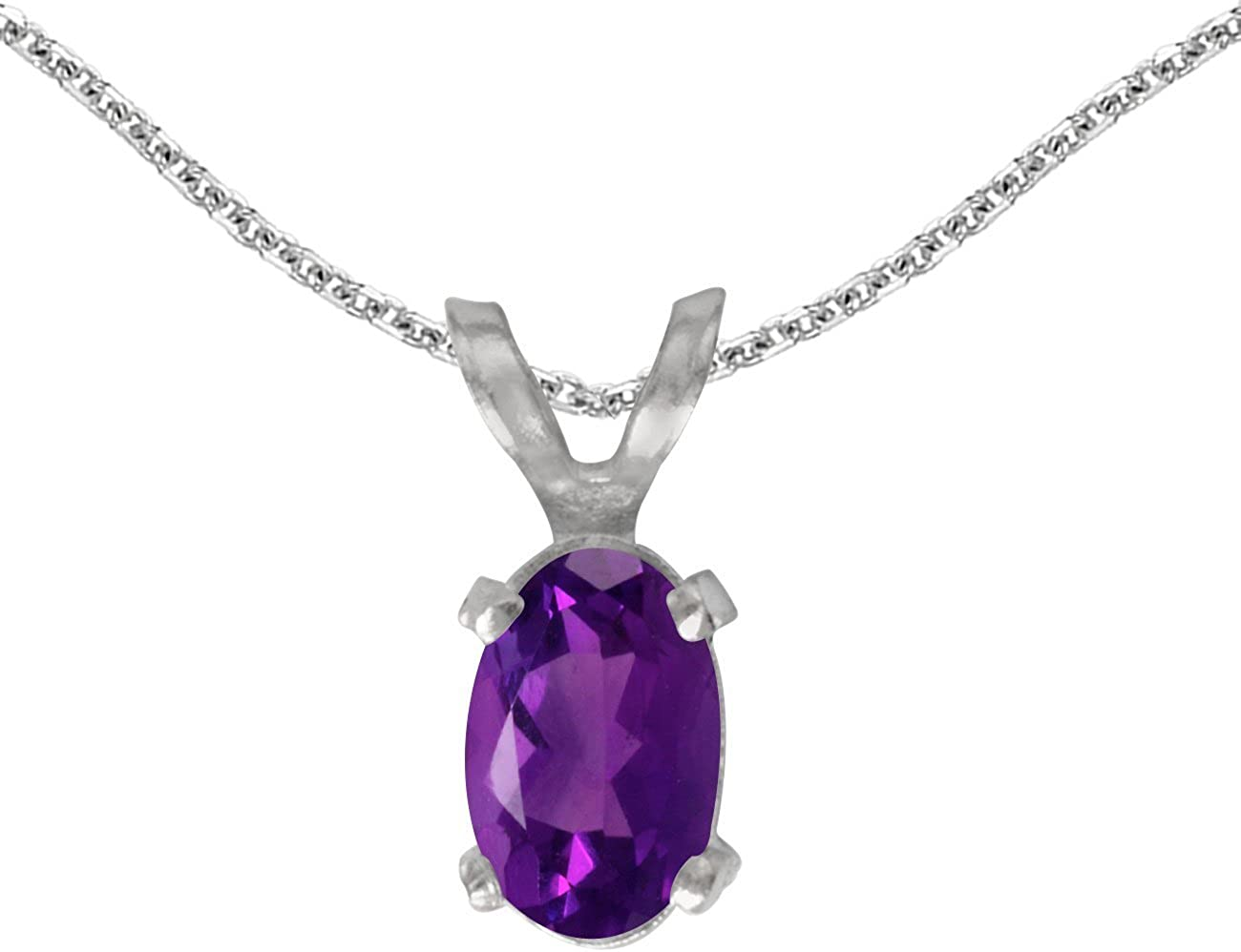 FB Jewels Solid 14k White Gold Genuine Birthstone Oval Gemstone Pendant (0.47 Cttw.)