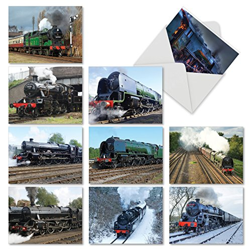 10 'Do The Locomotive' Note Cards with Envelopes, Blank Steam Train Greeting Cards, All-Occasion Stationery Set for Birthdays, Holidays, Parties and Thank Yous 4 x 5.12 inch M5071OCB-B1x10 -