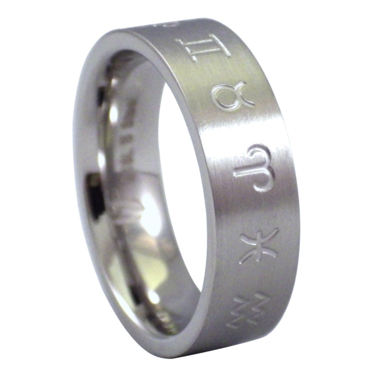 Fantasy Forge Jewelry Wheel of the Zodiac Ring Stainless Steel Band 6mm Size 11