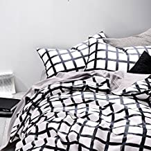 100% Cotton, 3 Piece Duvet Cover and Pillow Shams Bedding Set, Grid White Black (Queen Size)