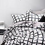 Black and White Duvet Covers Black White Duvet Cover Set, 100% Cotton Bedding, Grid Plaid Geometric Modern Pattern Printed, with Zipper Closure (3pcs, King Size)
