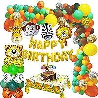 MMTX Jungle Décoration d'anniversaire Garçons, Safari Fête Décorations de Fête Anniversaire avec Ballon de Happy Birthday...