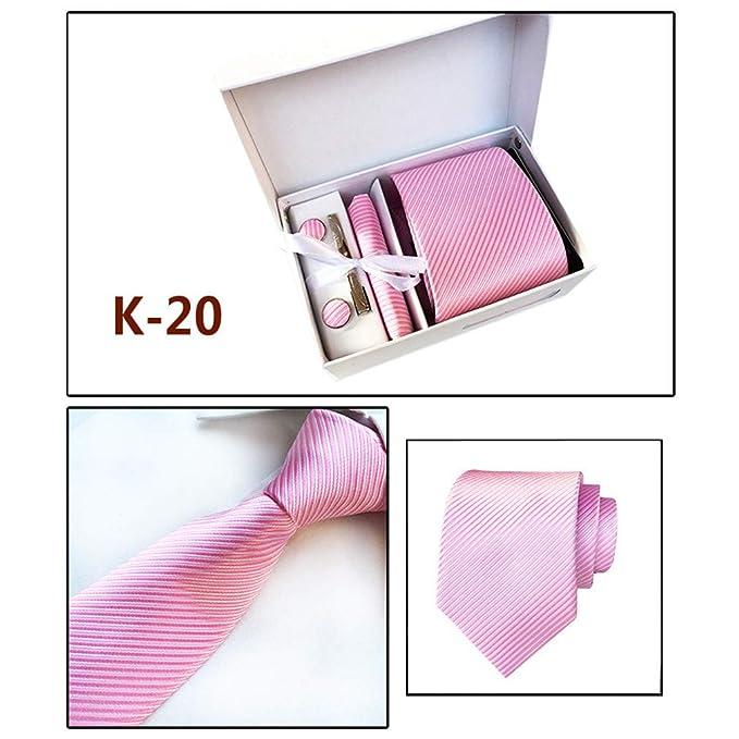 hibote Hombre corbata – caja conjunto con pañuelo, gemelos y aguja ...