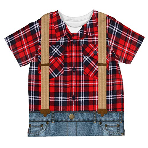 Lumberjack Costume Girl (Halloween Lumberjack Costume All Over Toddler T Shirt Multi 4T)