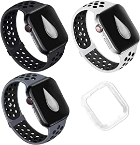 Watch Bands Wristband Silicone,Compatible with Apple Watch for Women Men,38mm 40mm 42mm 44mm ,SoftStrap Breathable HolesSport BandReplacement Waterproof Loop for iWatch Series 6/SE/5/4/3/2/1,Nike+(Free Transparent Protective Case Inside), sport-watch-bands-wristband-strap