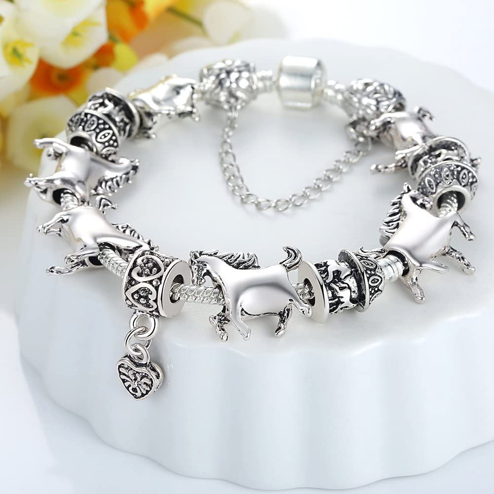 BISAER Horse Charm Bracelet Charm Bead Bracelet with 925 Sterling Silver Plated Gifts for Women Teen Girls Horse 7.87 Inches
