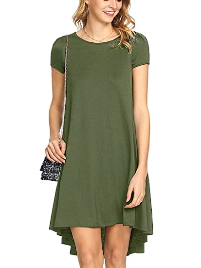 46642e855895f Romwe Women's Loose Casual Short Sleeve High Low Hem Swing T-Shirt Tunic  Dress Green