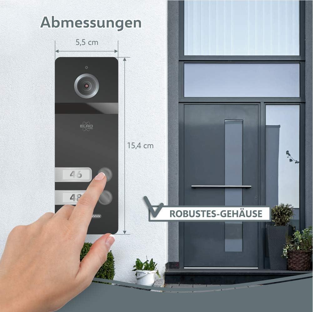 ELRO PRO PV40 Full HD Video-T/ürsprechanlage mit Farbbildschirm-Mit Voicemail-13 Klingelt/öne-Modernes Design 1 Familie