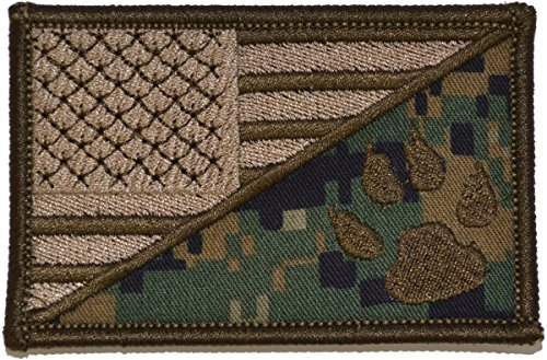 USA Flag/Tracker Paw Scout Emblem 2.25x3.5 Morale Patch - Mu