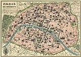 Vintage Paris Map Monuments Poster By Cavallini & Co. 20