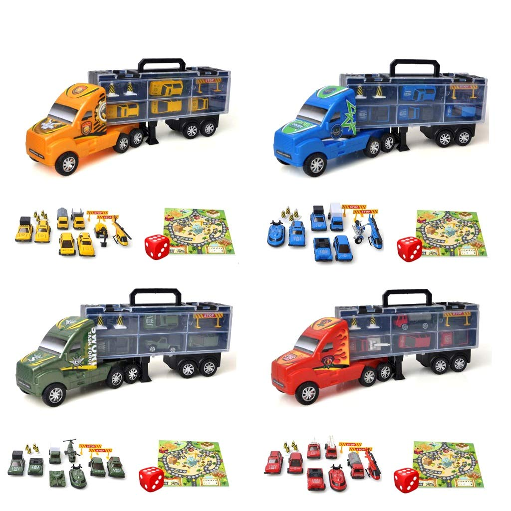 トランスポータートラックキャリーケース B07JYBYRGL、合計36個の車両と道路標識、ゲームマップとサイコロ(4個のおもちゃセット) B07JYBYRGL, 酒の泉州屋:1c5a484e --- m2cweb.com