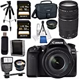 Canon EOS 80D DSLR Camera with 18-135mm IS USM Lens + Canon EF 75-300mm Lens + 58mm Wide Angle Lens + 58mm 2x Lens + Canon 100ES EOS Shoulder Bag Bundle