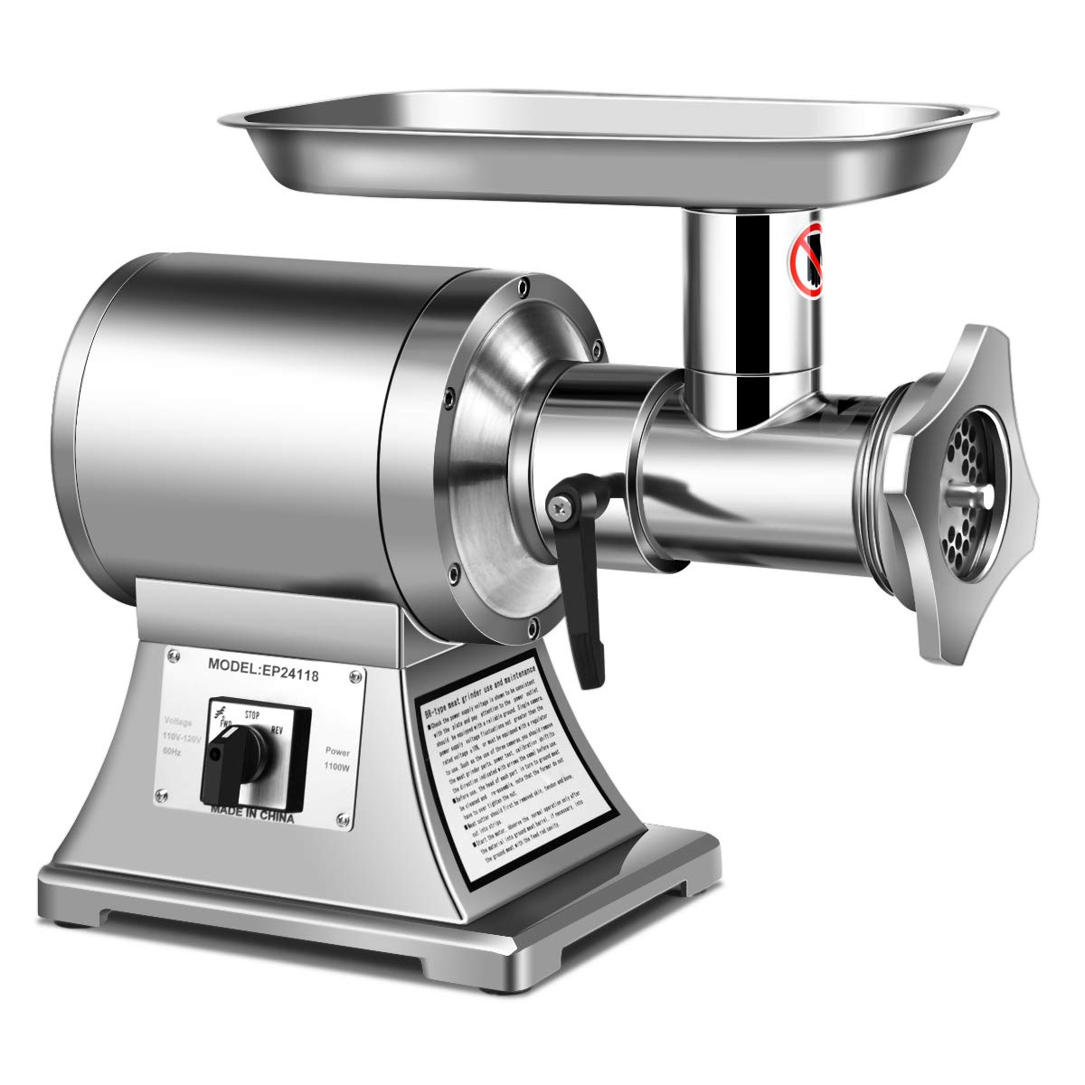 Tangkula Electric Meat Grinder, 1.5HP 1100W Meat Mincer, Stainless Steel Food Grinder Maker with 2 Cutting Plates & 2 Cutting Blades(Silver) by Tangkula