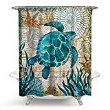 Ecomic Sea turtle Ocean Animal Landscape Shower Curtains Waterproof Polyester Blackout Draperies Window Solid Grommet for Bedroom Living Bathroom Room, Larger (13)