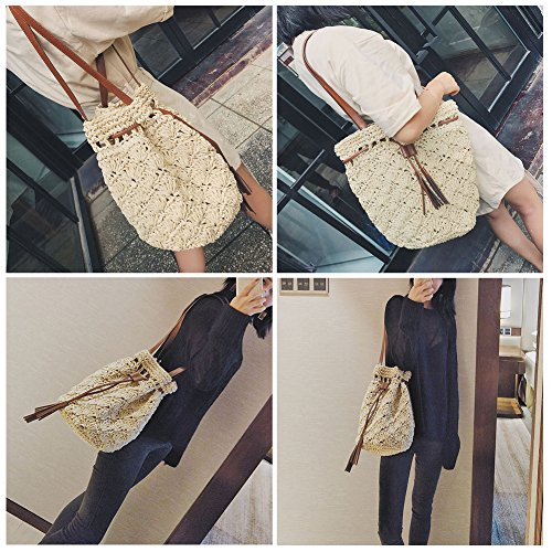 Small Woven Bag YJIUJIU Bucket Straw Drawstring Bag YJIUJIU Woven Shoulder OwYOqCU