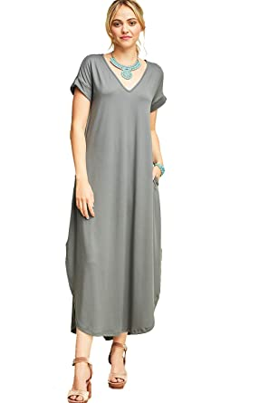 1e485079935 Maxi!! Super Soft High Low Hem Short Slve Maxi Dress at Amazon ...