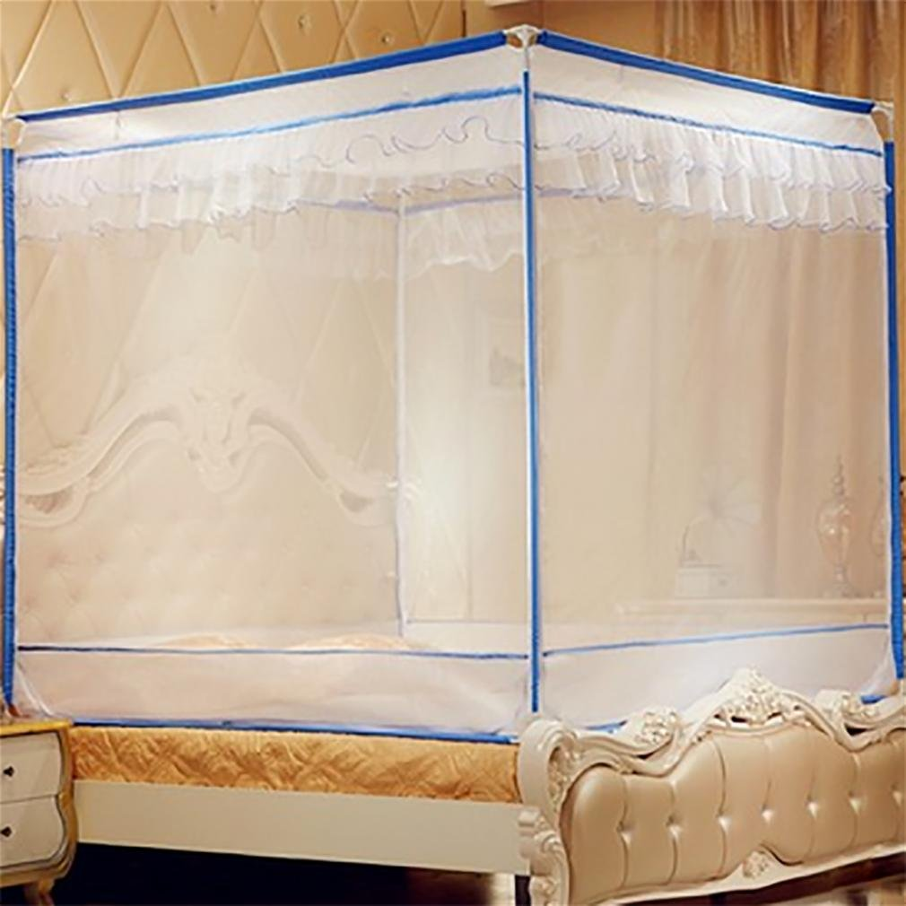 WP Mosquito Net Three Open Door Stainless Steel Bracket Square Top Bed 1.8 M Double Bed , white + blue edge , 1.8m (6 feet) bed
