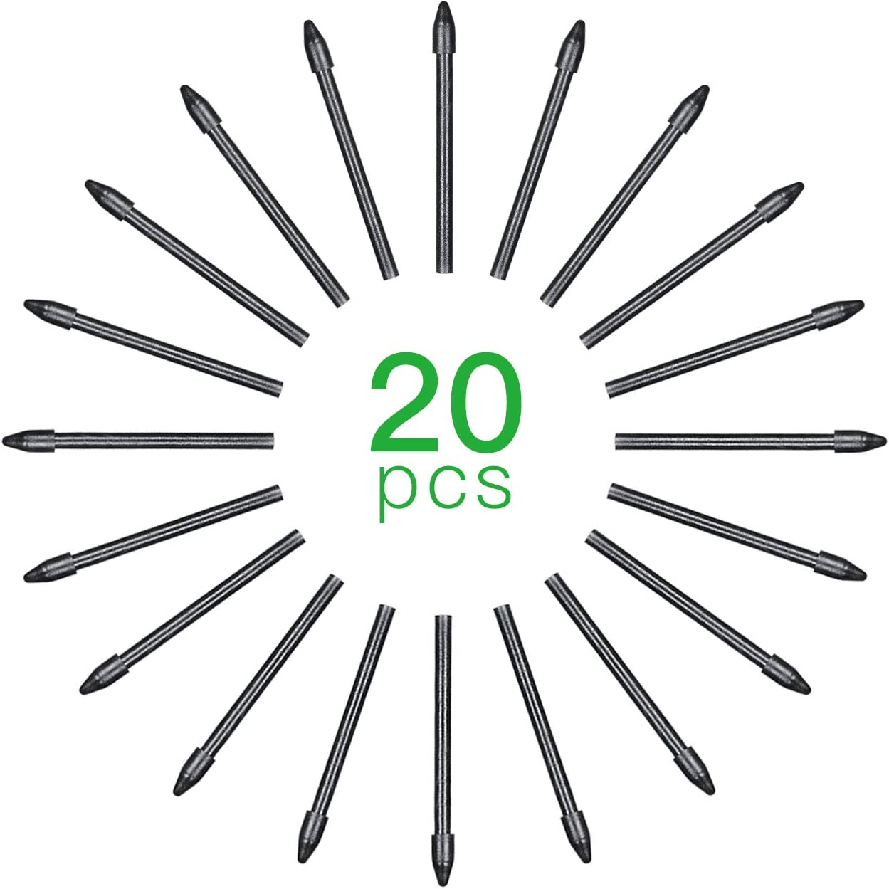 Entweg Pen Tips,20pcs Replacement Nibs Pen Tips Compatible with All Graphic Monitor Drawing Tablet Battery-Free Stylus Black