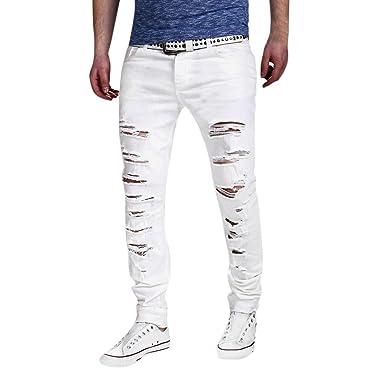 a3b4a22a7ff69 Jean Skinny Déchiré Homme,Overdose Vintage Hiver Automne Pantalons Slim  Casual Trousers Noir Délavé Jeans  Amazon.fr  Vêtements et accessoires