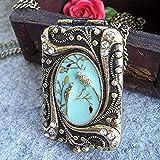 Vintage Retro Copper Flower Rhinestone Bird Locket Pendant Necklace Chain US10