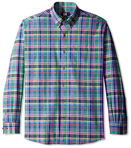 Plaid Richmond - Cutter & Buck Men's Long Sleeve Richmond Plaid Shirt, Purple/Green, L