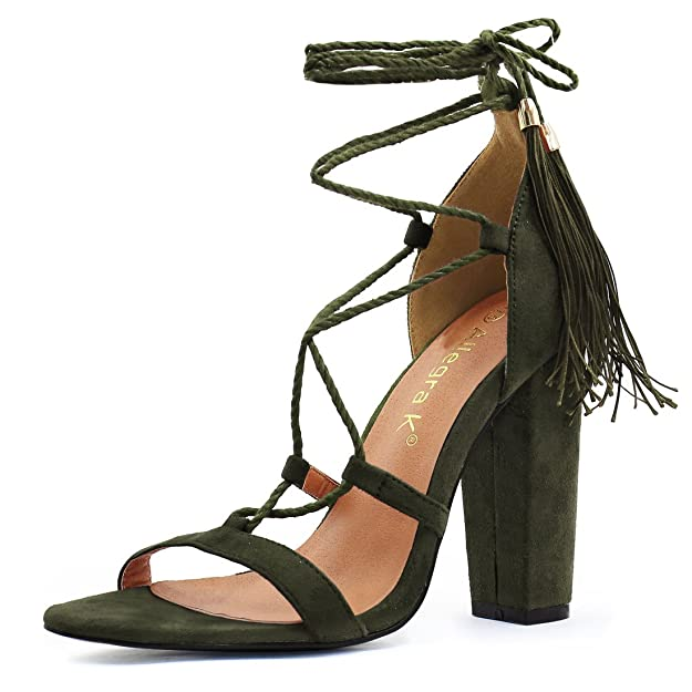 Allegra K Women's Chunky High Heel Tassel Lace up Sandals (Size US 6.5) Army Green
