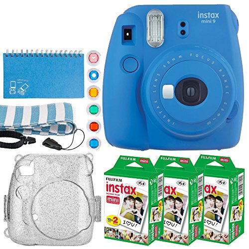 Fujifilm Instax Mini 9 Instant Camera (Cobalt Blue) + Fujifilm Instax Mini Twin Pack Instant Film (60 Exposures) + Glitter Hard Case + Scrapbooking Album + Colored Lens Filters + ()