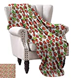 Anyangeight Weave Pattern Extra Long Blanket,Vibrant Strawberry Figures Watercolor Stylized Yummy Cute Sweet Fruits Artwork 50''x30'',Super Soft and Comfortable,Suitable for Sofas,Chairs,beds
