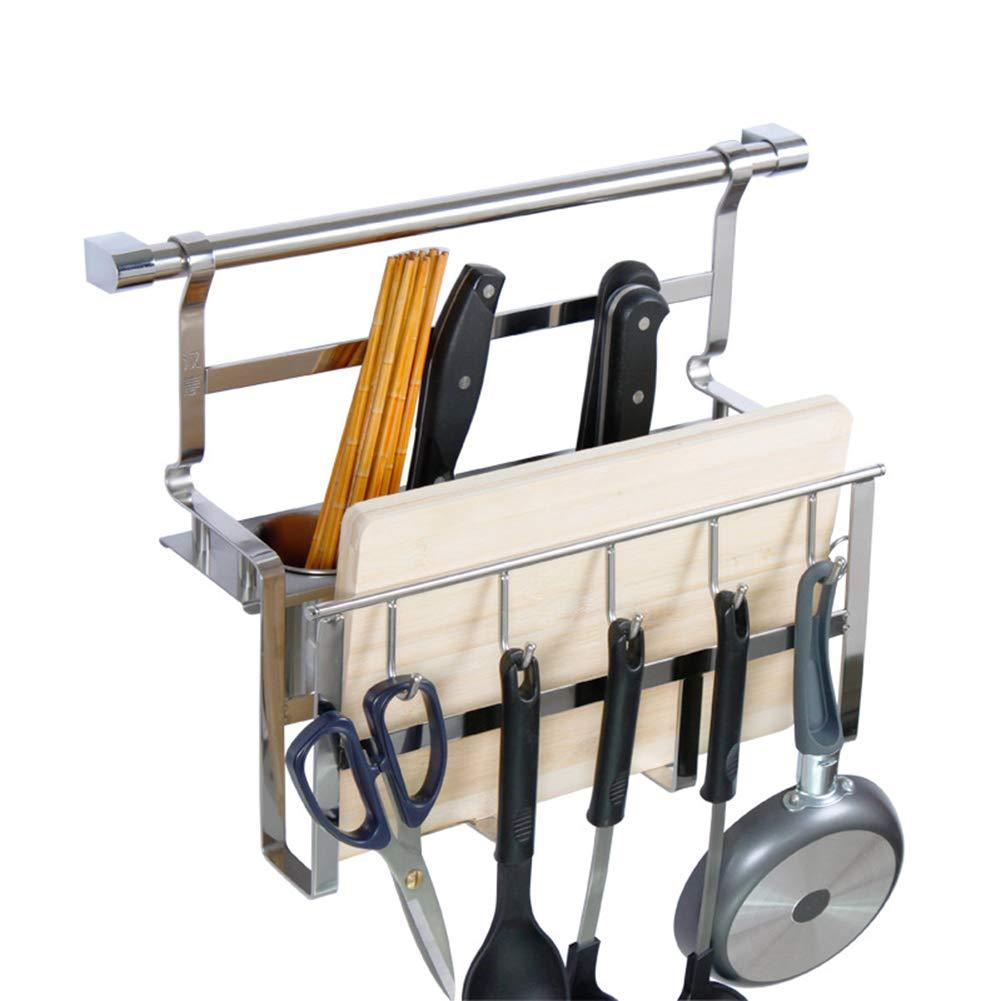 Kitchen Shelf Wall Mount Sticky Board Kitchen Knife Tableware Storage Drain Pendant Stainless Steel Multifunctional, 410310mm