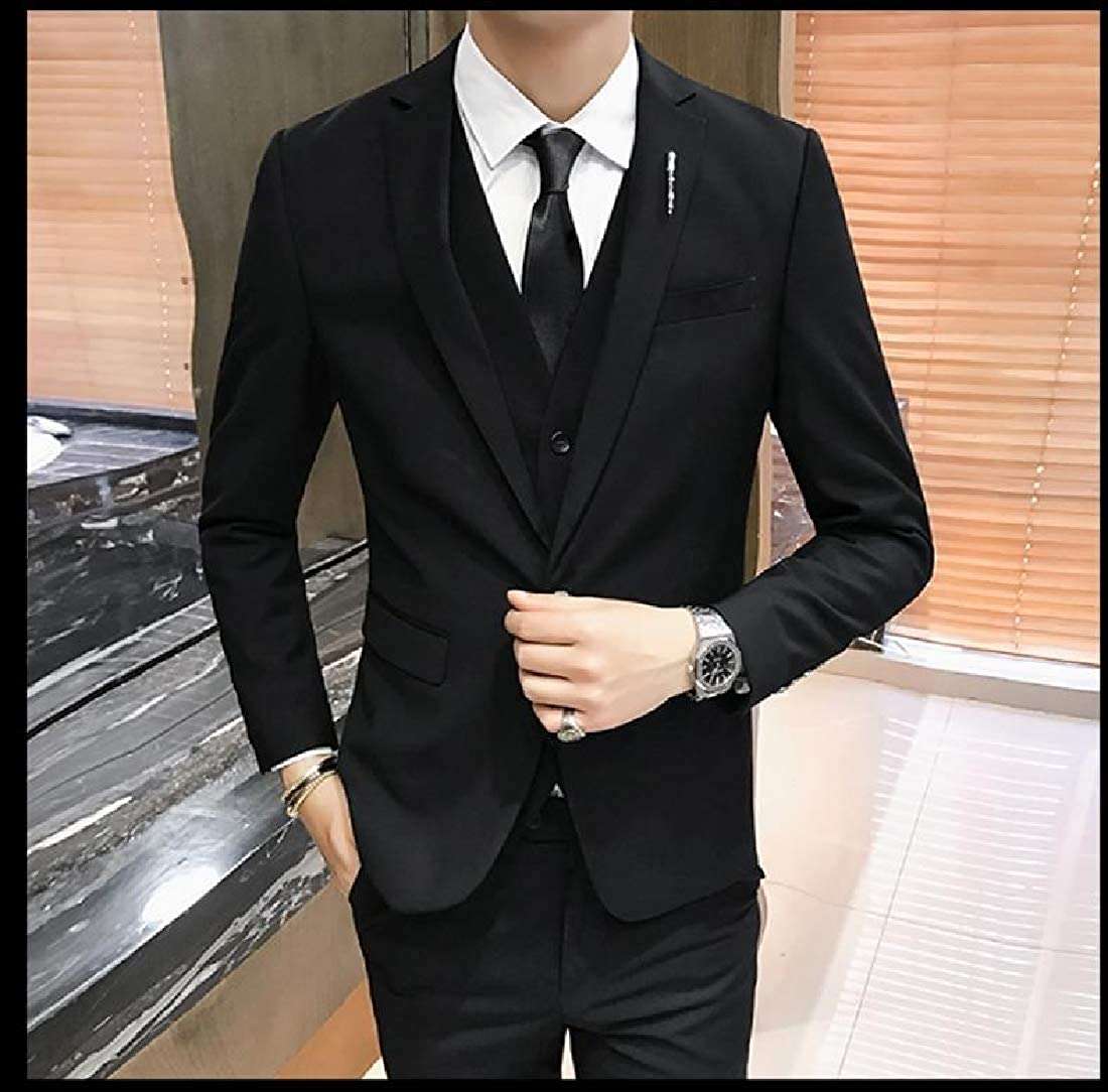YUSKYMen Business 3 Pieces Premium Formal Blazer Jacket Pants Tux Vest