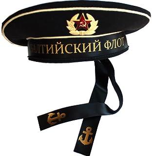 5b3600a12728d ORIGINAL Soviet USSR Baltic Fleet Navy Sailor Hat 1980th with ribbon and Cap  Badge