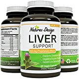 Natural Liver Support Supplement Detox and Cleanse with Milk Thistle Extract Pure Silymarin Marianum and Dandelion Artichoke Yarrow Complex Non GMO and USA Made 60 Capsules by Natures Design