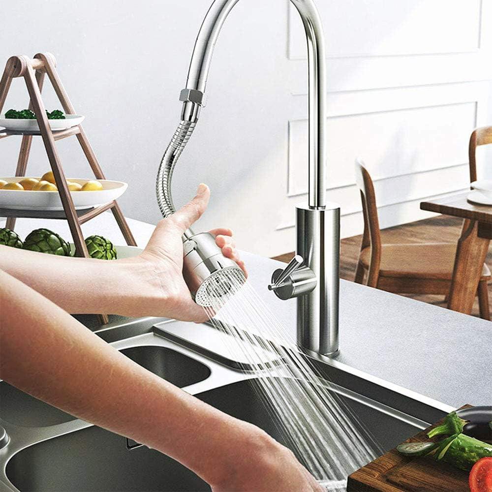 Oziral Aireador De Grifo 360/° Rotatable Bent Water Saving Tap Aerator Grifo de Boquilla de Espuma Chorro De Aire Y Chorro De Ducha Dos Modos De Agua Faucet Extender for Kitchen Bath Sink