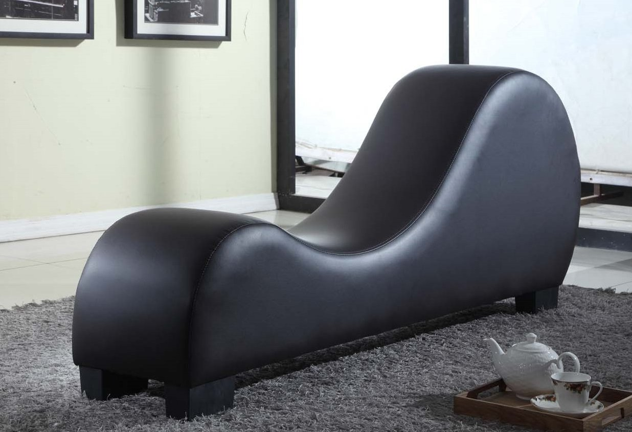 US Pride Furniture Faux Leather Stretch Chaise Relaxation and Yoga Chair, Black by US Pride Furniture