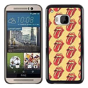 TopCaseStore / la caja del caucho duro de la cubierta de protección de la piel - Lips Kisses Tongue Red Yellow Lick - HTC One M9