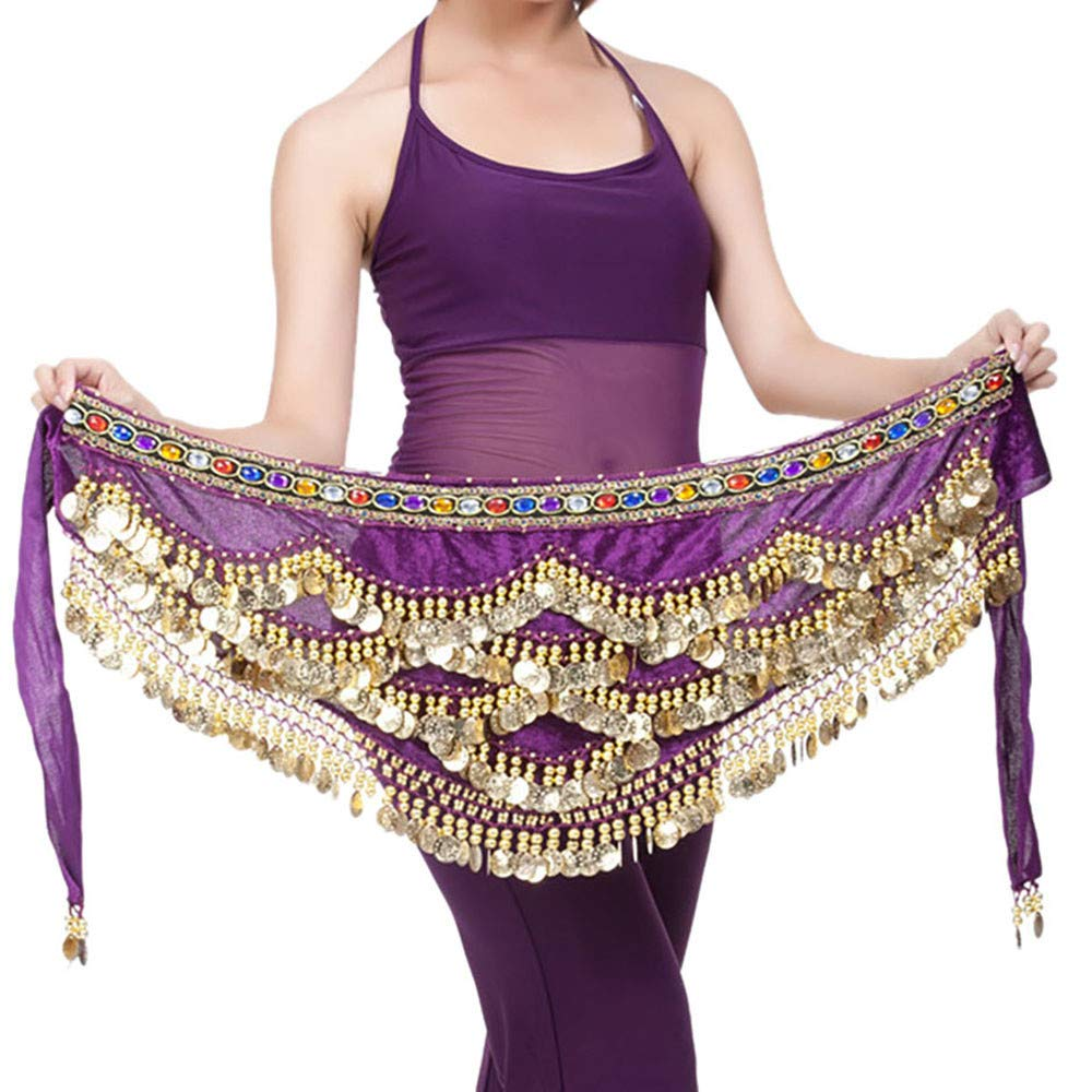 BIKETAFUWY Belly Dance Skirt for Women,Hip Scarf Wrap Skirts Performance Dress Sequins Gold Coins Outfit India Costumes