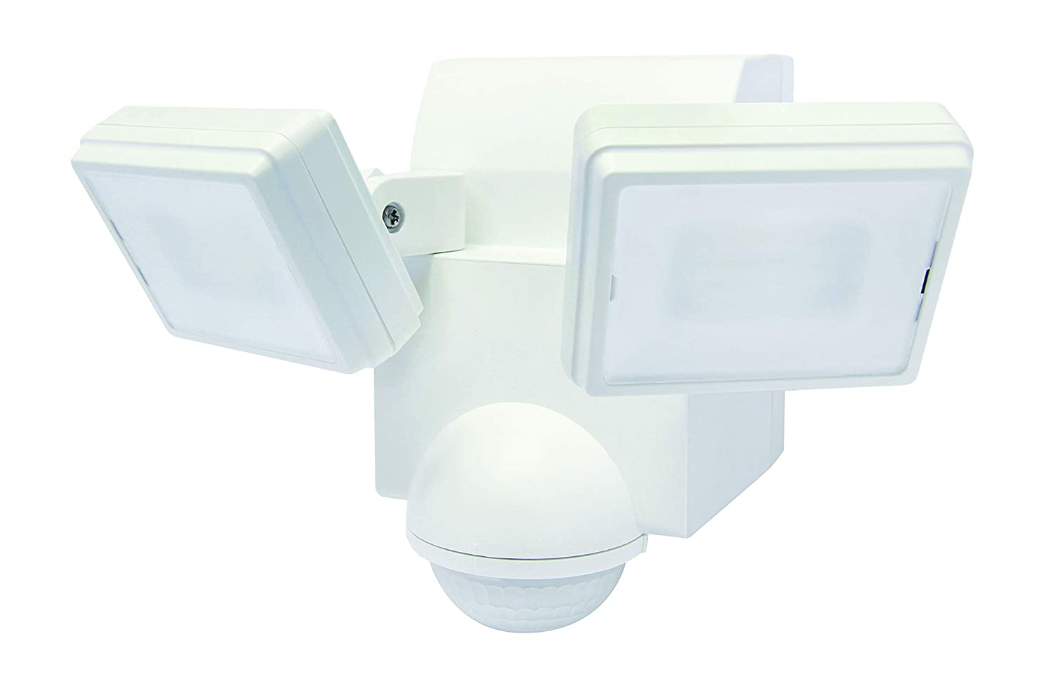LB1870QWH 700 Lumen Battery Operated LED Motion Security Light, Twin Head (Includes L-Bracket for Easy Mount) (White)