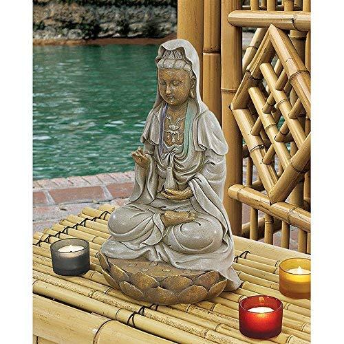 Design Toscano EU1017 Asian Goddess Guan Yin Seated on Lotus Outdoor Garden Statue, 12 Inch (Renewed)