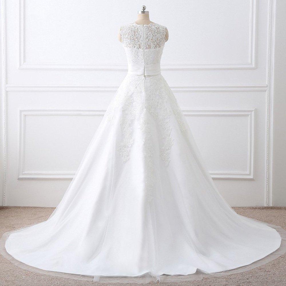 Two Pieces Wedding Dresses Lace Applique Bridal Gowns with Detachable Train