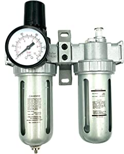 """BRUFER AFRL80 Air Filter Regulator and Lubricator Combo 1/2"""" NPT, 5 Micron Element, Poly Bowl, Manual Drain - Compressor Air Filter Air Pressure Regulator Water-Oil Separator Trap Filter"""