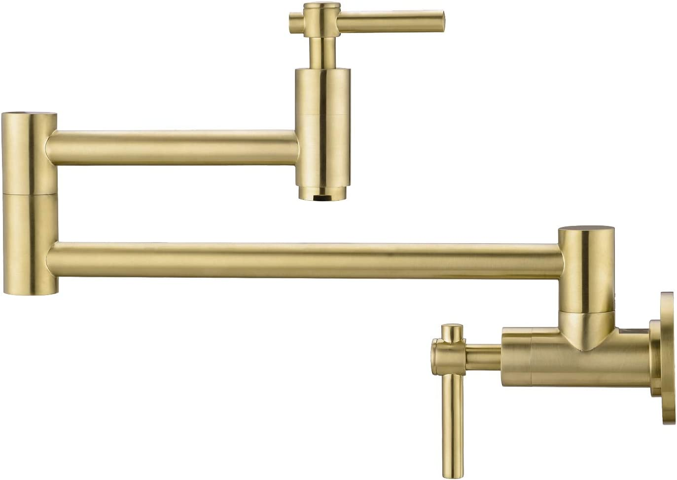 BZOOSIU Gold Pot Filler Faucet Wall Mount, Solid Brass with Stretchable Double Joint Swing Arm Pot Filler Faucet, Single Hole Two Handles Wall Mount Kitchen Faucet