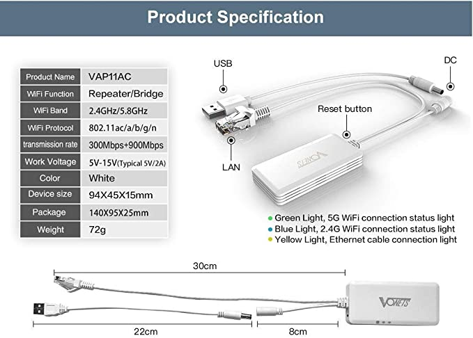 Vonets AC1200 - Extensor de doble banda para puente (5 G/2,4 G, repetidor de puente inalámbrico VAP11 AC)