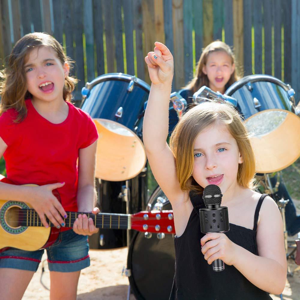Henkelion Wireless Bluetooth Karaoke Microphone for Kids, Kids Karaoke Machine Portable Handheld Mic Speaker Toy Home Party Birthday Graduation for iPhone Android iPad All Smartphone - Black by Henkelion (Image #5)